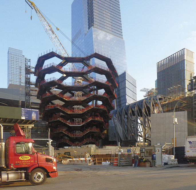 Vessel and The Shed near completion. Hudson Yards, NY